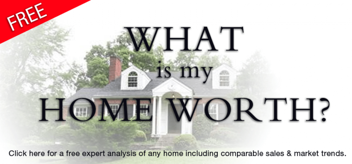 Image of a house in the background with text over it that says whats my home worth?