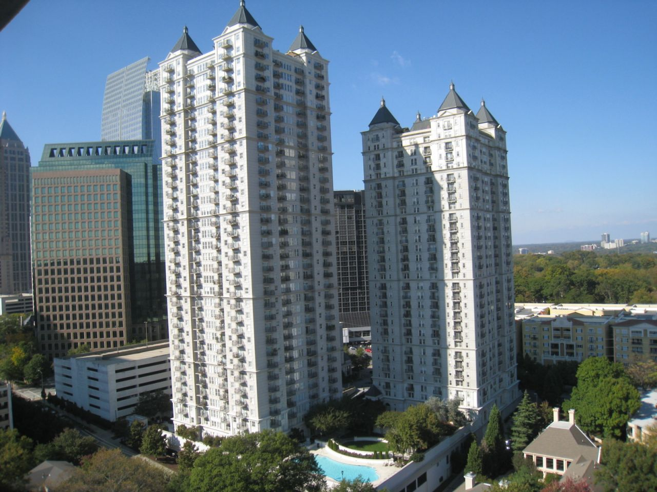 The Mayfair buildings in Atlanta from a distance